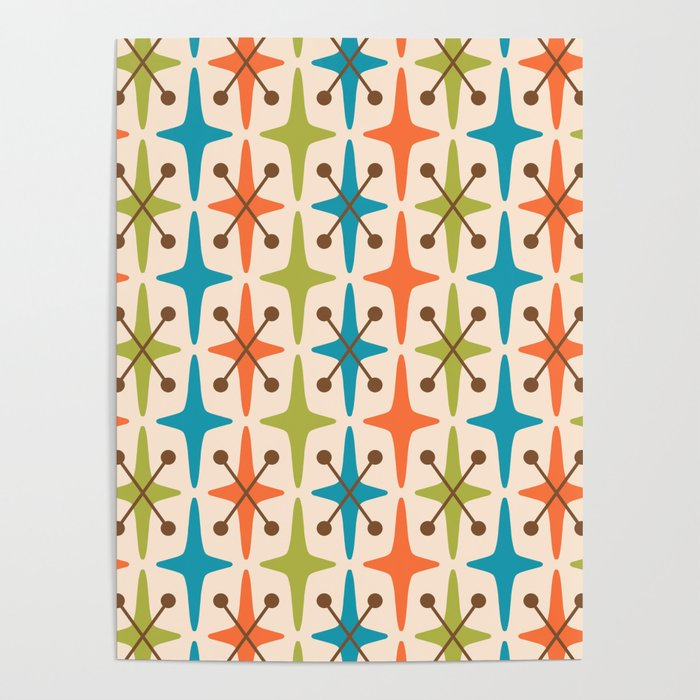 Mid Century Modern Abstract Star Pattern 441 Orange Brown Turquoise Chartreuse Poster