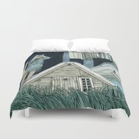 northern lights Duvet Covers featuring Photographing Northern Lights by Yuliya