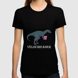 Funny Velociraptor Dinosaur Book Reading Bookworm T-shirt
