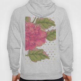 Big Bloom Pink Flower with Gold Polka Dots Hoody