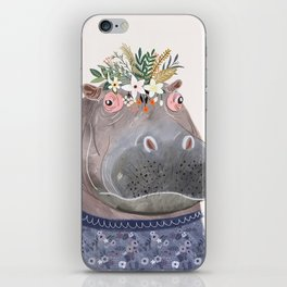 Hippo with flowers on head iPhone Skin