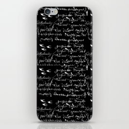 White French Script on Black background with White birds iPhone Skin