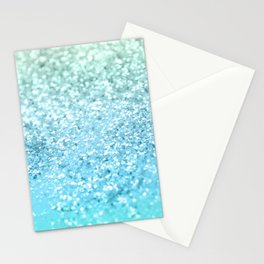 Seafoam Aqua Ocean MERMAID Girls Glitter #1 #shiny #decor #art #society6 Stationery Cards