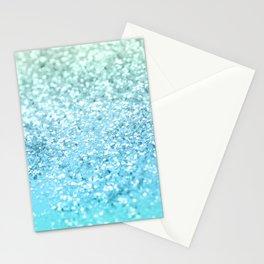Seafoam Aqua Ocean MERMAID Girls Glitter #1 #shiny #decor #art #society6 Stationery Cards