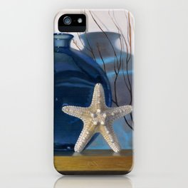 Still life with a blue vase and a starfish iPhone Case