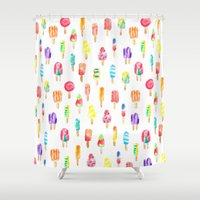popsicle Shower Curtains featuring Popsicle by Golden Girl Art