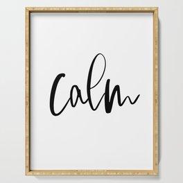 Calm Print, hand lettered digital wall art, home decor, digital download, inspirational wall art Serving Tray