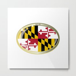 Maryland State Flag Oval Button Metal Print