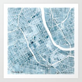 Map Nashville Tennessee Blueprint City Map Art Print