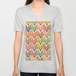 Multicolor Cardigan Corgi Face Pattern - version two Unisex V-Neck