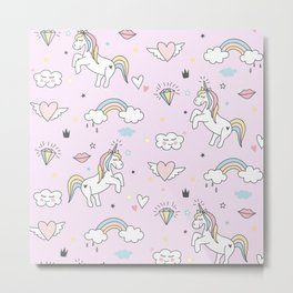 Unicorn & Rainbows Light Pink Metal Print