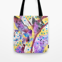 Purple, yellow and maroon digital acrylic and watercolor collage design Tote Bag