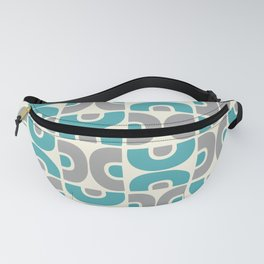 Funky Mid Century Modern Pattern 554 Gray and Turquoise Fanny Pack
