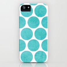 aqua polka dots Slim Case iPhone (5, 5s)