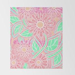Zen Flowers Doodle Design - Pink Coral Throw Blanket