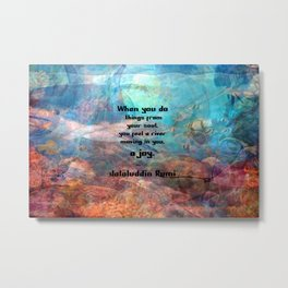 Rumi Inspirational JOY Quotation With Underwater Ocean Scene Metal Print