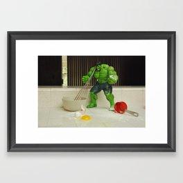 Green Hulk Don't Like Cooking Framed Art Print