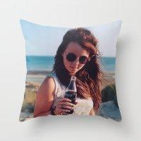 coca cola Throw Pillows featuring coca cola by Millie Clinton