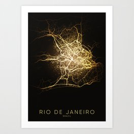 rio de janeiro brazil city night light map Art Print