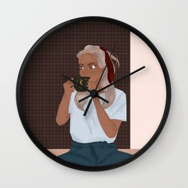 Lady Sipping Tea Wall Clock