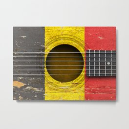 Old Vintage Acoustic Guitar with Belgian Flag Metal Print