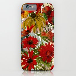 Vintage & Shabby Chic - Colorful End Of The Summer Flower Garden iPhone Case