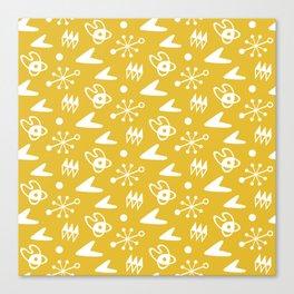Mid Century Modern Atomic Boomerang Pattern Mustard Yellow Canvas Print
