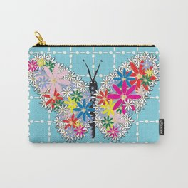 Butterfly Daisies Pearl Drop Pattern Turquoise Carry-All Pouch