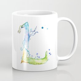 Letter L watercolor - Watercolor Monogram - Watercolor typography - Floral lettering Coffee Mug