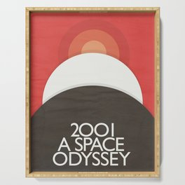 2001 A Space Odyssey - Stanley Kubrick minimalist movie poster, Red Version, fantasy film Serving Tray