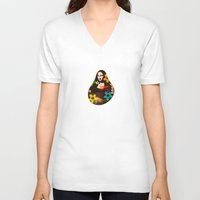 mona lisa V-neck T-shirts featuring Mona Lisa by Big AL