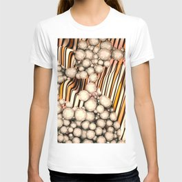 Large group of yellow abstract orbs or pearls or spheres T-shirt