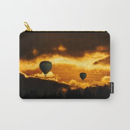 Exotic and magnificent afternoon at Sunset time and hot air balloon on dark and gold fuzzy sky Carry-All Pouch