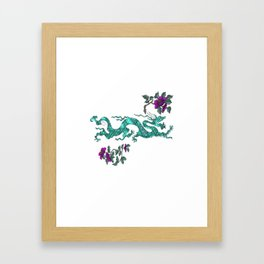 Green oriental Dragon Framed Art Print