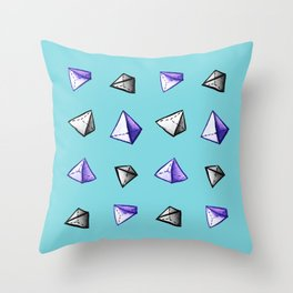 Blue Geometric Watercolor Pyramid Pattern Throw Pillow