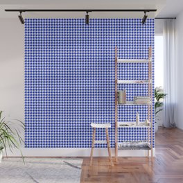Cobalt Blue and White Houndstooth Check Pattern Wall Mural