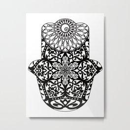 Hamsa Mandala Black and White Metal Print