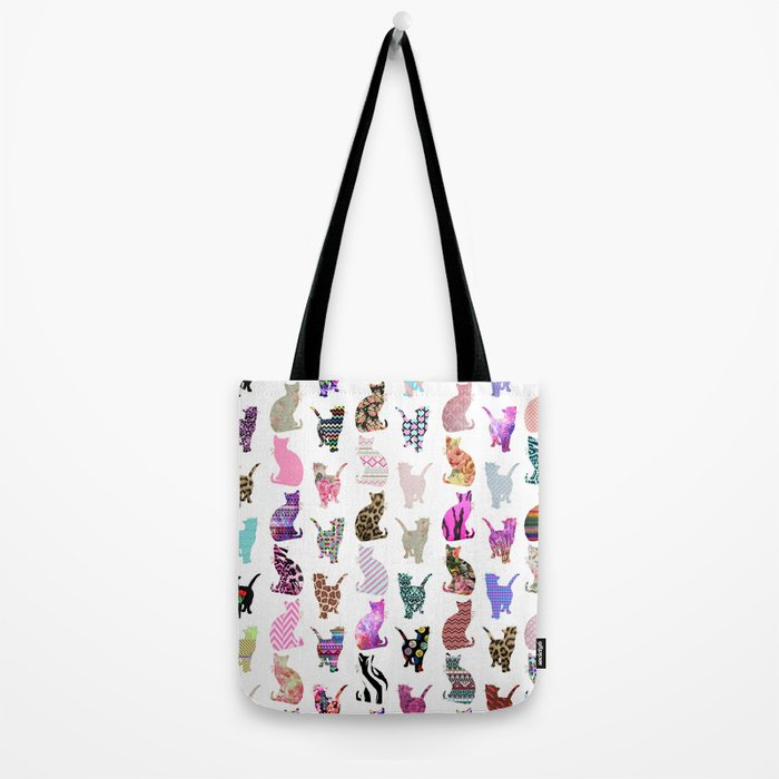 Girly Whimsical Cats aztec floral stripes pattern Tote Bag