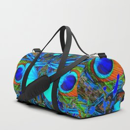 ELECTRIC NEON BLUE BUTTERFLIES & BLUE PEACOCK FEATHERS Duffle Bag