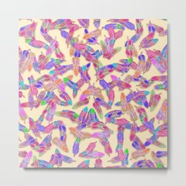 Girly Vibrant Bohemian Watercolor Feathers Pattern Metal Print
