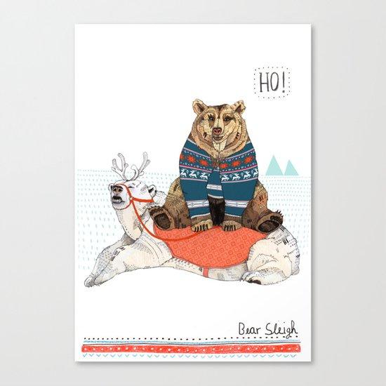Bear Sleigh Canvas Print