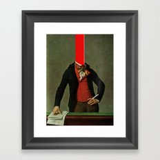 The red stripe in the head and the cigarette in the hand Framed Art Print