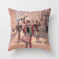 drum Throw Pillows featuring Drum by Sarah Larguier