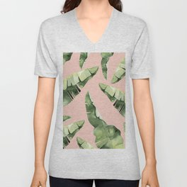 Banana Leaves 2 Green And Pink Unisex V-Neck