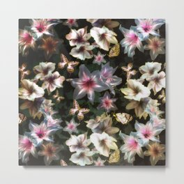 Amaryllis and Butterflies Metal Print