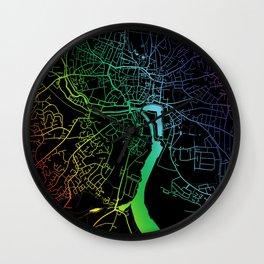 Ipswich, England, City, Map, Rainbow, Map, Art, Print Wall Clock