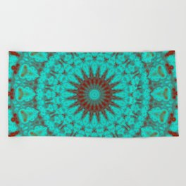 Mandala Fractal in Oxidized Copper 2 Beach Towel