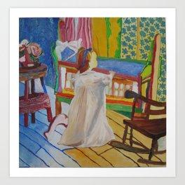 Happpy Girl with Cradle Art Print