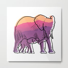 Elephant Mother And Baby Metal Print