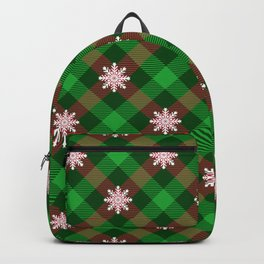Christmas Plaid Snowflake With Star Design Buffalo Plaid Winter Xmas Pattern (diagonal red and green) Backpack